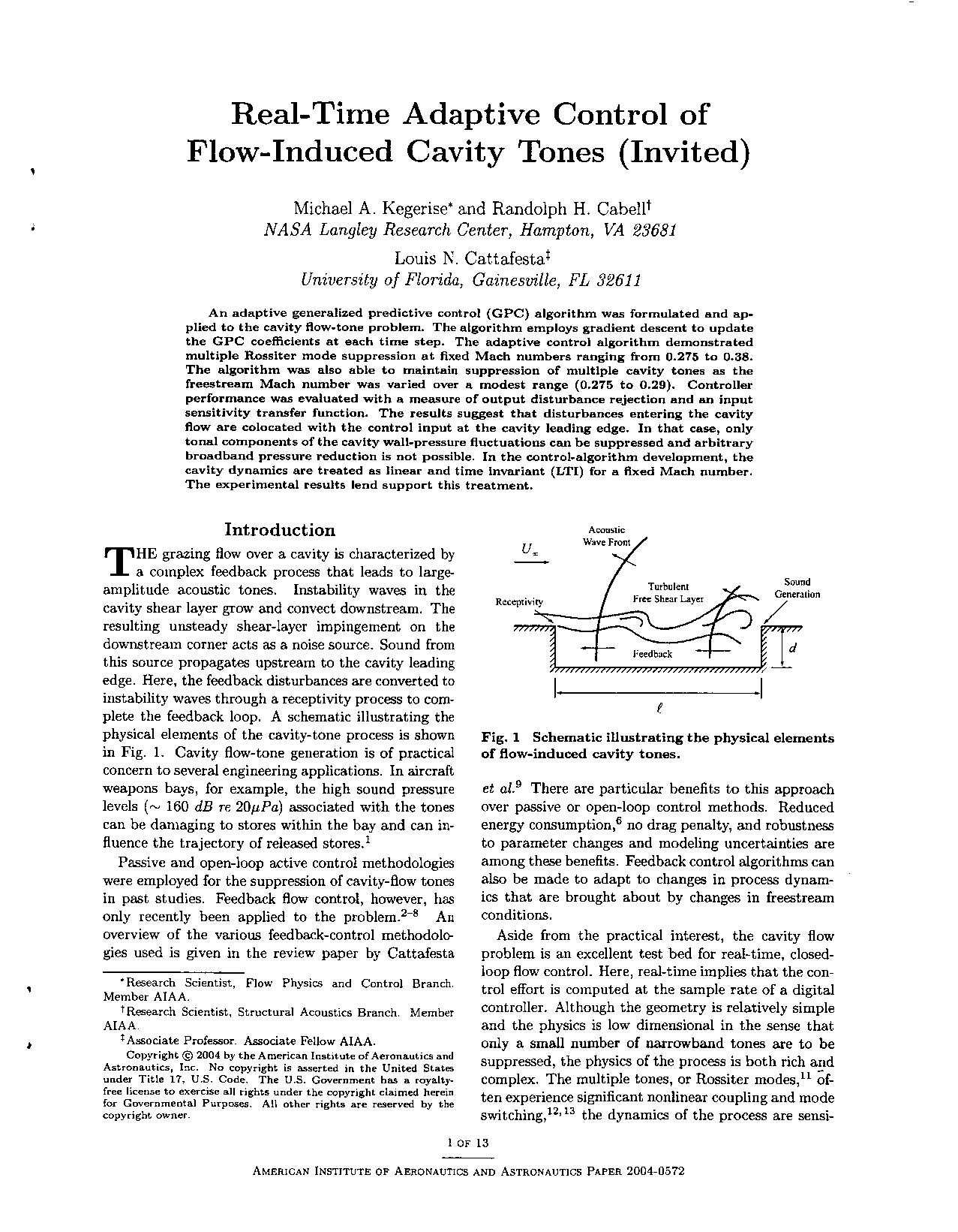 - Real-Time Adaptive Control of Flow-Induced Cavity Tones