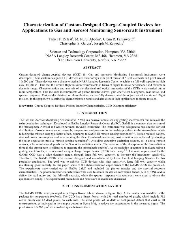 Tamer F. Refaat - Characterization of Custom-Designed Charge-Coupled Devices for Applications to Gas and Aerosol Monitoring Sensorcraft Instrument