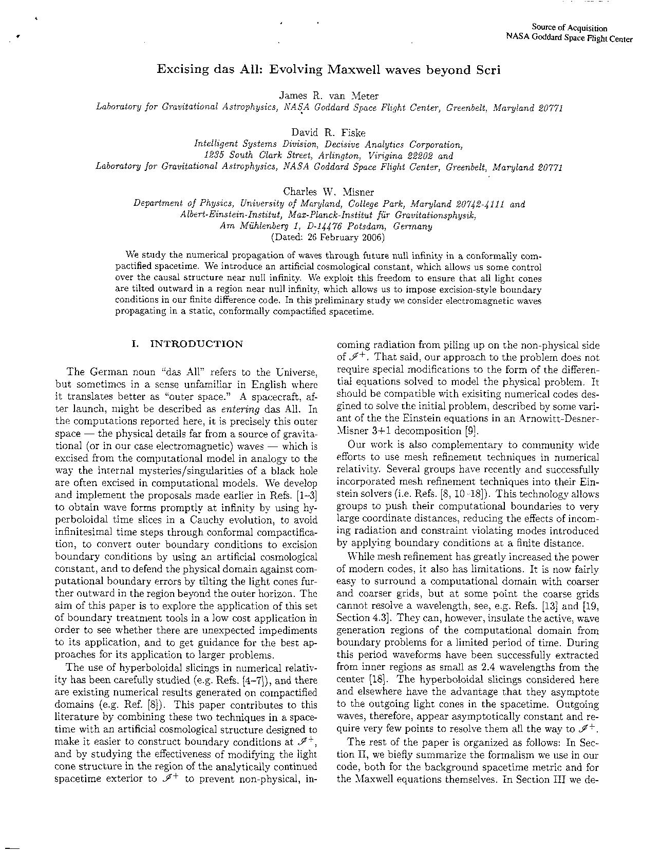 James R. vanMeter - Excising das All: Evolving Maxwell waves beyond Scri