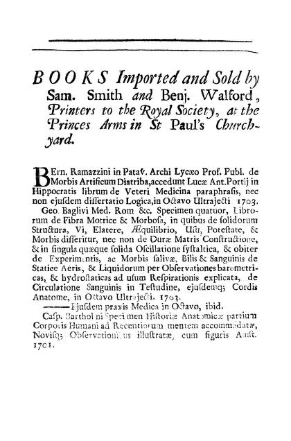 S. Smith - Books Imported and Sold by Sam. Smith and Benj. Walford, Printers to the Royal Society, at the Princes Arms in St Paul's Churchyard